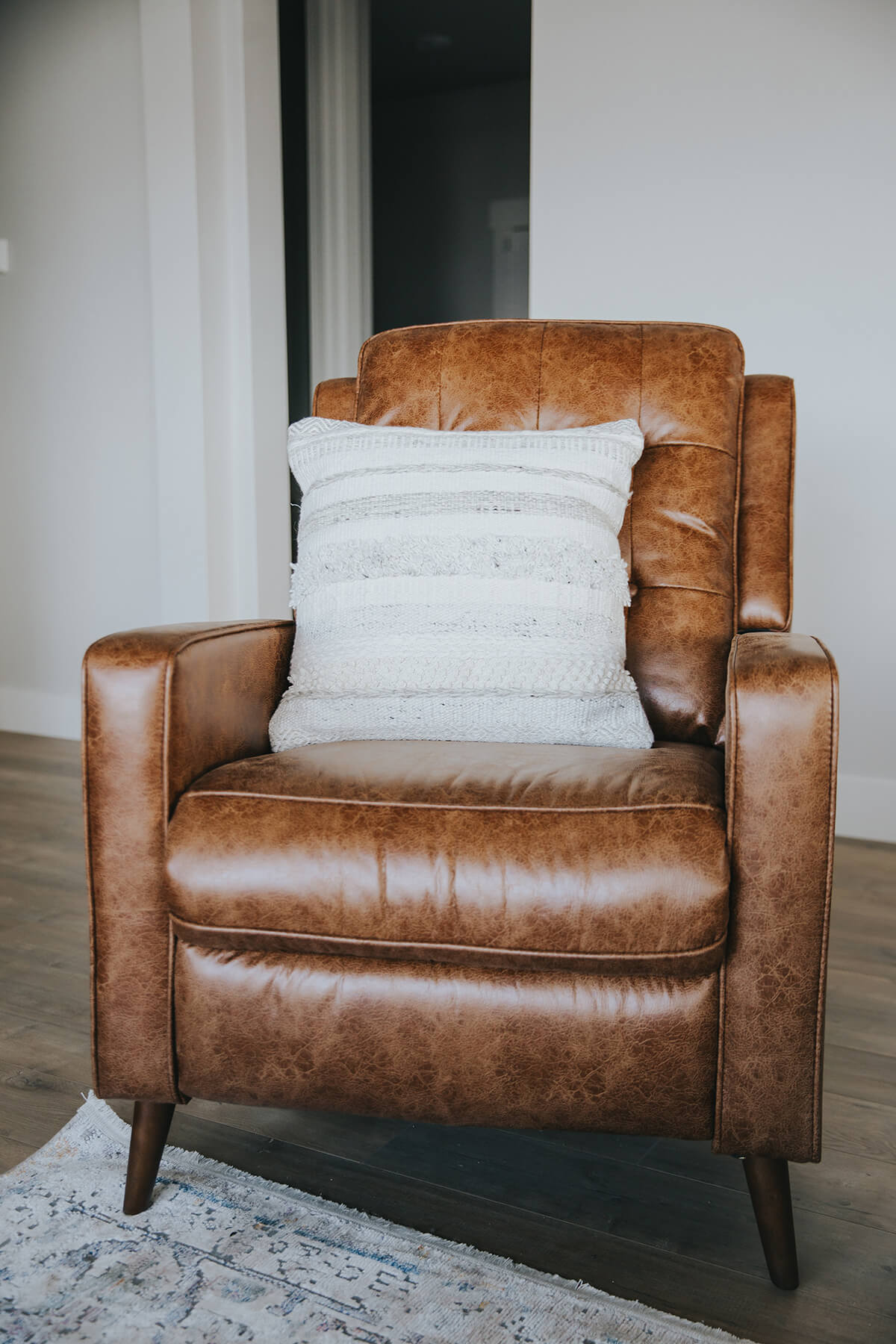 a nice brown leather recliner that was cleaned by Ocean Chem-Dry